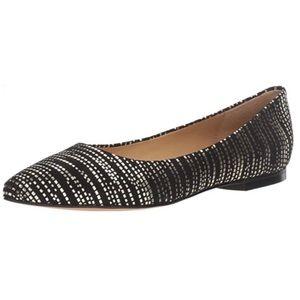 9.5 Wide Trotters Estee Ballet Flat, Black/Gold,